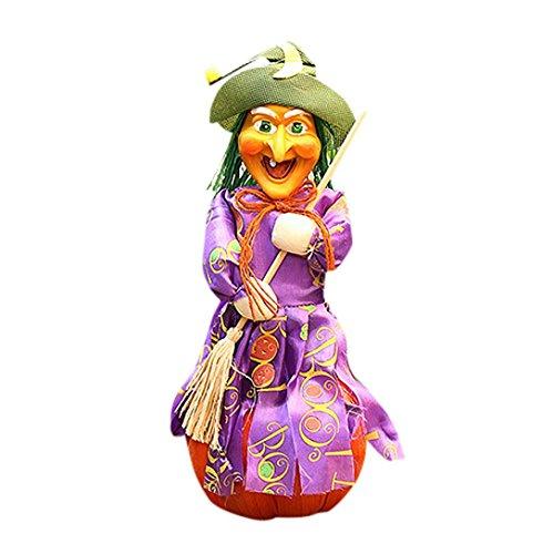 Hirolan Halloween Hexe Geist Flug Scannen Flachs Hexe Requisiten Falke Zuhause Dekorativ Requisiten (Womens Perücke Girl Party Lila)
