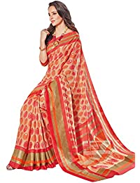 Salwar Studio Women's Orange & Beige Linen Cotton Floral Printed Saree With Blouse Piece