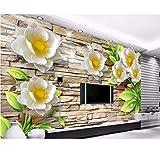 Europäische Malerei 3D Tapeten Wandbilder Fototapete Geprägte Weiße Lotus Tapete 3D Tv Zurück Papiere Wohnkultur, 260X180 Cm (102,36X70,87 In)