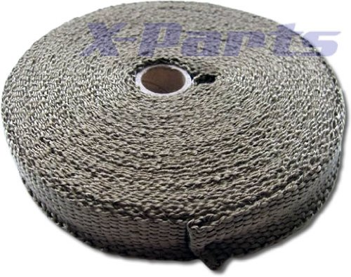 15m lang 28mm breit Titan Hitzeschutzband Fächerkrümmer Auspuff Band Lava Lawa (Grundpreis/Meter = 3 Euro)