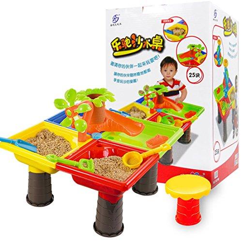 TETAKE Sandspielzeug Junge Mädchen 24 Stücke Strandspielzeug Kinder Spieltisch Sandkastentisch Strand Wasser Spiel Sandkasten Wasserspielzeug Zubehör Badespielzeug Geschenk für Baby 2+ Jahr