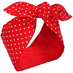 Sea Team Cotton Headband Bows Red with White Polka Dots Double Wide Headwrap Cotton Head Band by Sea Team