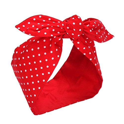 Sea Team Wire Headband Stylish Retro Bowknot Polka Dot Wire Hair Holders for Women and Girls Red ...