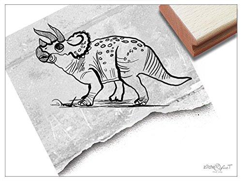 Stempel - Kinderstempel Dino Triceratops Dinosaurier - Bildstempel Motivstempel Geschenk für Kinder - Kita Schule Basteln Deko - zAcheR-fineT (groß ca. 27 x 50 mm)