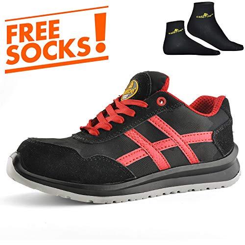 Zapatos de Seguridad Deportivos Ultra-Ligeros - SAFETOE 7329 Calzado de Seguridad Hombre Trabaja con Tus Pies Bien Protegidos (Talla 44, Negro)
