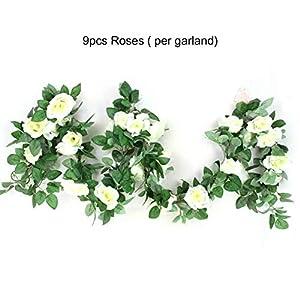 Heaviesk Flor Artificial Falsa Rosa Vid Hoja Verde Colgando Vid Guirnalda para el Banquete de Boda jardín de la casa…
