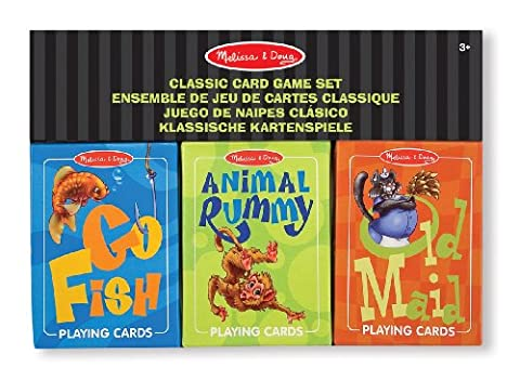 Melissa & Doug Classic Card Games Set - Old Maid, Go Fish, Rummy - Go Go Animali Set
