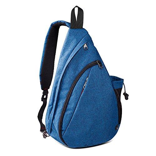 Sling Bag Damen und Herren, Outdoormaster Leichter Schulterrucksack Sling Rucksack Pack mit bequemem Material, multifunktionales Crossbag Brust Tasche Schleuder Tasche für Outdoorsport(Azurblau) -