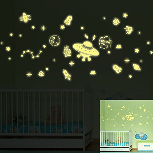 Vehículo Espacial Dice Hola Pegatinas de Pared de Dibujos Animados para Niños Fluorescente Que Brilla Intensamente Rocket Robot Planet Star Brillan en la Oscuridad constellation DIY Vinilo de Pared Nursery, Dormitorio del Niño Mural