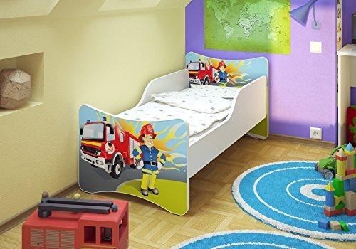 *Best For Kids Kinderbett 70×140 Feuerwehr + Matratze + Lattenrost + Wandaufkleber mit TÜV ZERTIFIZIERT*