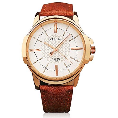 ★ Loveso ★-Armband uhr Herren Quarz Militär Sport Lederband Luxus Edelstahl Zifferblatt Armbanduhr_Braun(B)