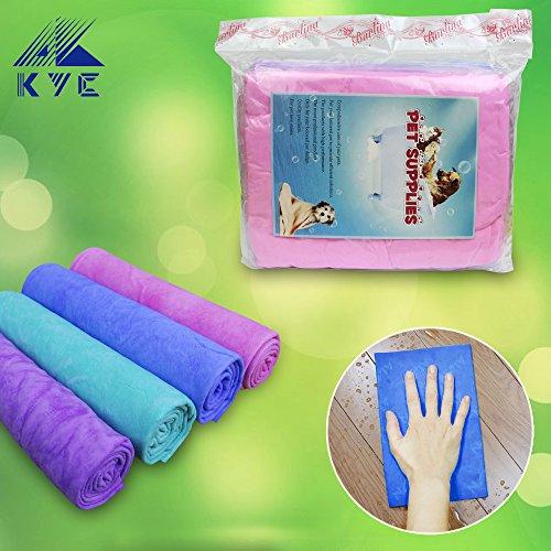 KYC 4 Farben Haustier Handtuch für Hunde/Katzen 66 * 43 cm trocken schnell saugfähige Baumwolle Firber Soft Badetuch (1 x Grün) (Drei-tasten-anzug Leichtes)