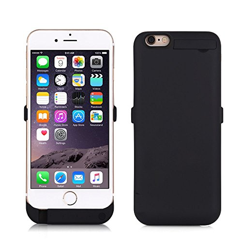 """ZOGIN Funda Batería iphone 6 / 6s, 10000mAh Funda Protectora Cargador / Funda de Batería Integrada Recargable de Alta Capacidad con Soporte de Móvil Plegable para iPhone 6 / 6s 4.7"""", Color Negro"""