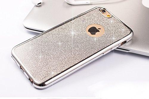 Coque iPhone 6,Coque iPhone 6S,Coque Étui Case pour iPhone 6S / 6,ikasus® Coque iPhone 6S / 6 Silicone Étui Housse Téléphone Couverture TPU Clair éclat Strass bling diamond cristal Sparkle glitter pai Argent