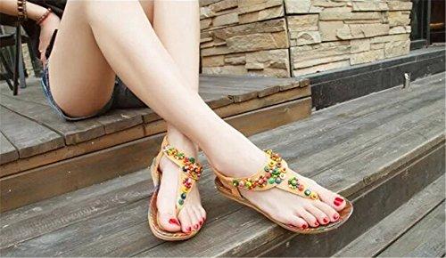 Fortuning's JDS Le donne estate perline bohemien T-Strap infradito sandali piatti Marrone chiaro