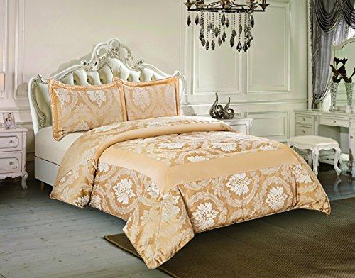 Sunrise Bettwäsche Soft 3 Stück gesteppte Tagesdecke Jacquard Bettwäsche Bettüberwurf für Schlafzimmer und Wohnzimmer 2 Paradekissen (König (240 x 260 cm), Betty Gold) -