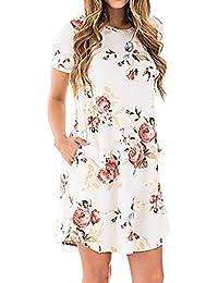 SG Minikleid Blumendruck Tunika Casual Rundhals Kurzarm Kleid mit Taschen