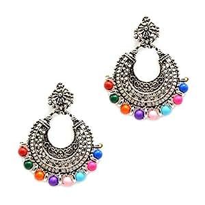 iKraft Oxidized Chandbali Earrings German Silver Plated Antique Finish Chandelier Earring for Girl and Women (Multi)