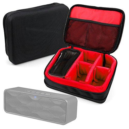 DURAGADGET Bolsa Acolchada Profesional Negra con Compartimentos e Interior en Rojo para Altavoz Portátil ZoeeTree S1, Zoee S2 / Trust Polo Compact 2.0