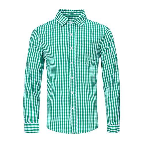 RAISEVERN Mens Slim Fit Button-Down Hemd lecker Bier Oktoberfest Kostüm grün kariert - Mens L/s Western Shirt