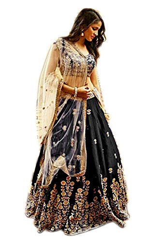 Vastra fashion Women's Banglory silk Black color heavy embroidery lehenga choli