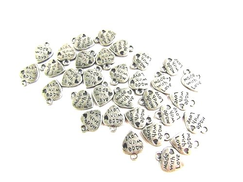 "Angel Malone 20, metallo placcato argento, motivo: ""Made with Love"", ""Double Sided Charms. Dimensioni: circa 10 x 12 mm, foro: 1,5 mm;"