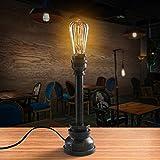 OYGROUP Edison Industrial Retro Schreibtischlampe Eisen Wasserrohr Tischlampe Steampunk Handwerk Innenbeleuchtung E27