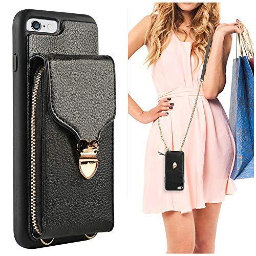 JLFCH Schutzhülle für iPhone 6 Plus, mit Reißverschluss, Leder, mit Reißverschluss, abnehmbares Handgelenkband, Abnehmbarer Schulterriemen für Apple iPhone 6/6S Plus, iPhone 6/6s 4.7'', schwarz