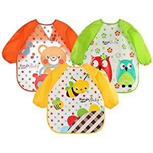 Mother & Kids Accessories Waterproof Long Sleeve Baby Feeding Bibs Children Apron For Kids Child Kitchen Baking Painting Eating Aprons Baby Art Craft Fine Quality