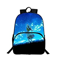 Univers Mode Unisexe sac à dos occasionnel sac à dos épaule Galaxy 3D Peinture Textile Polyester Sac à dos Backpack Voyage style étudiant (Stars et fille)