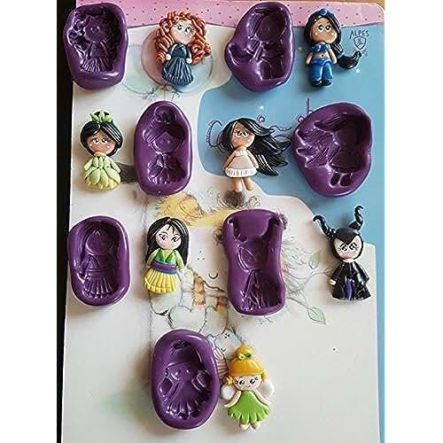 figuras kawaii porcelana fria Lote de 7 Moldes de Silicona Princesas Tiana, Pocahontas, Merida, Jazmin, Mulan, Malefica, Campanita Fimo, porcelana fria, fondant