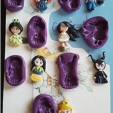 Lote de 7 Moldes de Silicona Princesas Tiana, Pocahontas, Merida, Jazmin, Mulan.
