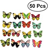 ROSENICE 50 Pcs Wooden Buttons Colorful Environmental Butterfly Pattern Printed DIY Snaps (Assorted Color)