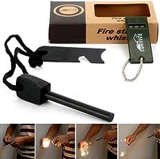 Survivel Magnesium Feuerstarter Feuerstahl Feuerstein Zündstein Flint Firestone + Pfeife mit 10,000 Zündungen