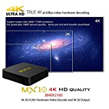 Timmery 2018 Newest 4GB DDR4 32GB MX10 Android 8.1 Smart TV-Box H.265 64bit Supporting Wireless, 4K (60Hz),3D, RK3328 Quad Core Set-Top-Box