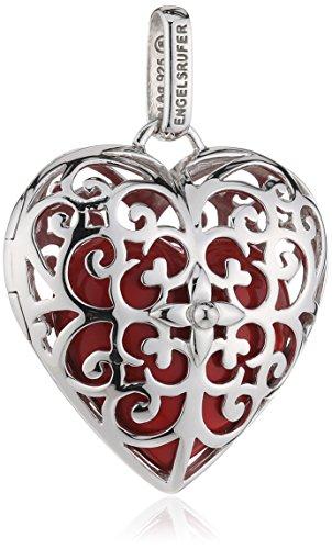 Herz Anhänger für Damen 925er-Sterlingsilber mit rotem Klangherz 29 mm