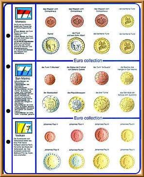 Lindner 8450-13 Vordruckblatt EURO COLLECTION: Kursmünzensätze Monaco/San Marino/Vatikan