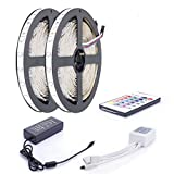 ALED LIGHT Led Strip 2x5M (10M in Gesamt) RGB Led Strip,3528 SMD 600 LED RGB Lichtbänder Flexible LED Streifen Band mit 5A EU Power Supply Adapter+24 Key Colours IR-Controller. Ideal für Garten, Haushalt, Küche, unter Kabinett, Auto, Bar, Mond, DIY Verzierung Lighting Energieklasse A