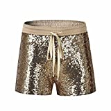 VENMO Mode Frauen Pailletten Shorts mittlere Taille Sexy Pocket Shorts Kausale Hot Pants Pailletten Nachtclub Shorts Sequin Shine Glitter Shorts Paillette verschönert Party Kurze Hose (Gold, XL)