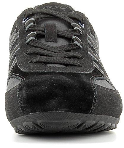 Geox U743FB Ravex Sportlicher Herren Sneaker, Schnürhalbschuh, Freizeitschuh, Snake, atmungsaktiv, Wechselfußbett Black/Charcoal