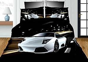 155x200 3D Bettwäsche Bettbezüge Bettwäschegarnituren Microfaser 3tlg schöne Farben und Muster Auto Autos Wagen Motorrad Harley FPW1