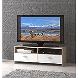 Meuble TV 95cm blanc et décor chene Helppo