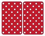 WENKO 2521344100 Herdabdeckplatte Universal Punkte - 2er Set, für alle Herdarten, Gehärtetes Glas, 30 x 1.8-4.5 x 52 cm, Mehrfarbig
