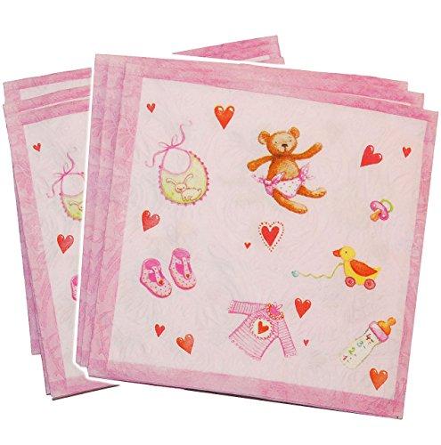 16 Stk. - 3-D Serviette - Schnuller rosa pink Mädchen Geburtstag - Geburt Taufe Baby Baby´s Party - Pullerparty Taufe, Papierservietten