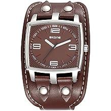 be313e8397a8 Moda Deportivo Cuff Watch Rectangular Correa Acrílicoha de Cuero PU Cuarzo Relojes  de Pulsera para Hombres