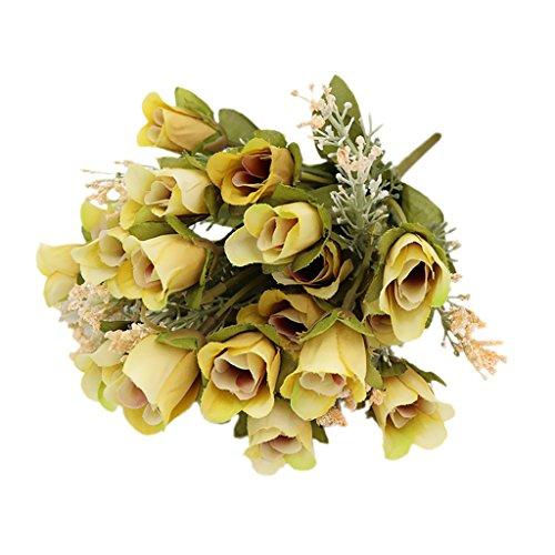 Sharplace 20 Köpfe Blumen Künstliche Blumenstrauß Seide Rosen Blütenköpfe Blumen Hochzeit Party Hause Dekor Rosen Rosenköpfe - Gelb, 30x10x3cm (Seide Blumen Rosen Gelb)