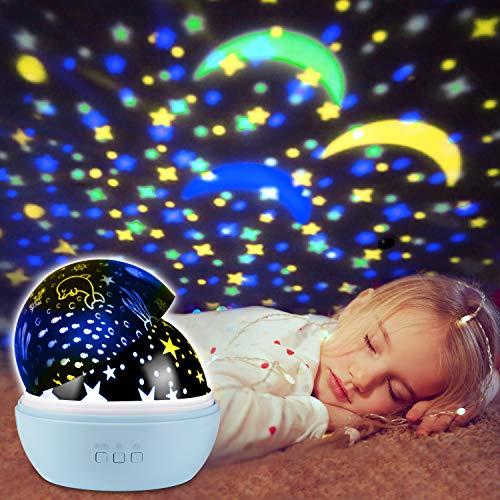 UBEGOOD Lampada Proiettore,Stelle Lampada Proiettore Oceano Luce Notturna Bambini con 8 Colori Lampadine LED Lampada di Illuminazione Notturna Rotante Stella per cameretta neonato,decorazioni-Blu