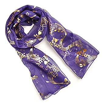 Ladies Purple Voile Fashion Scarf with I Love Jesus/ Praise the Lord Theme