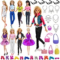 VanStar 34 Item/Set Doll Accessories, 6 Sets Fashion Dresses Casual Wear Clothes with 12 Pair Shoes + 4 Glasses + 6 Necklaces + 6 Handbag for Barbie Doll Random Style