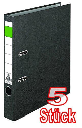 Grüner Balken Ordner-Wolkenmarmor Recycling 5 cm schmal DIN A4 schwarz 10er Pack Made in Germany Ringordner Aktenordner Briefordner Büroordner Pappordner Schlitzordner Blauer Engel (5er Pack schmal)